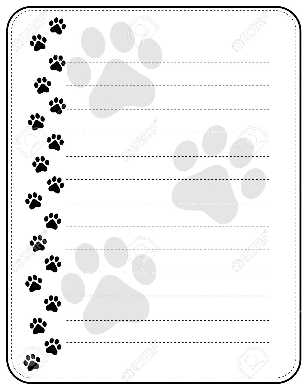 Black Dog Paw Print Left Border Frame With Lines Royalty Free