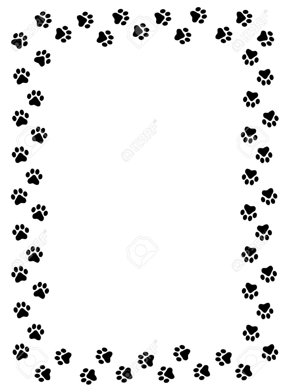 dog paw prints border on white background royalty free cliparts rh 123rf com dog paw print vector art free dog paw print vector free download