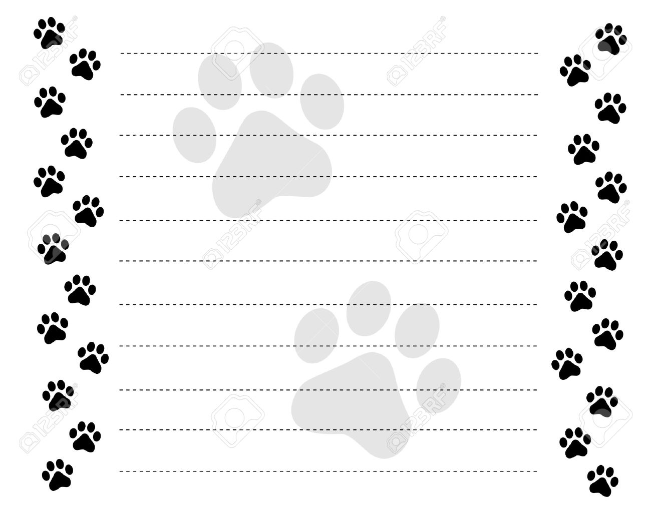 Worksheets Dotted Line Page black and white paw prints border frame on a dotted line background stock vector