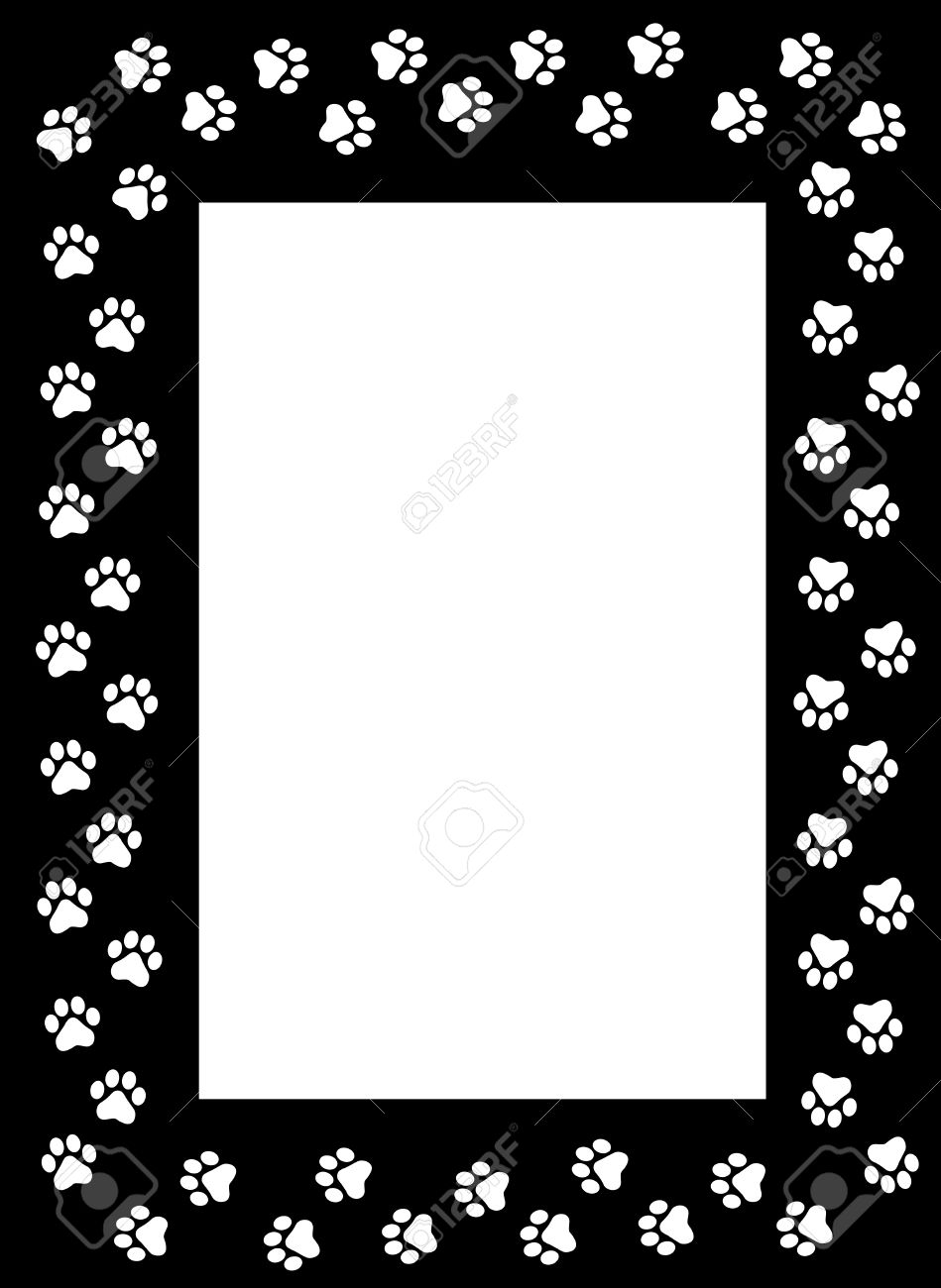 White Dog Paw Prints On Black Background Frame Border Royalty Free