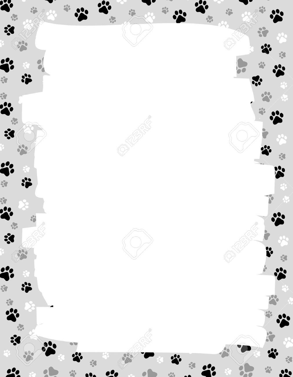 Lindo Perro / Gato Pata Imprime La Frontera / Marco Con El Espacio ...
