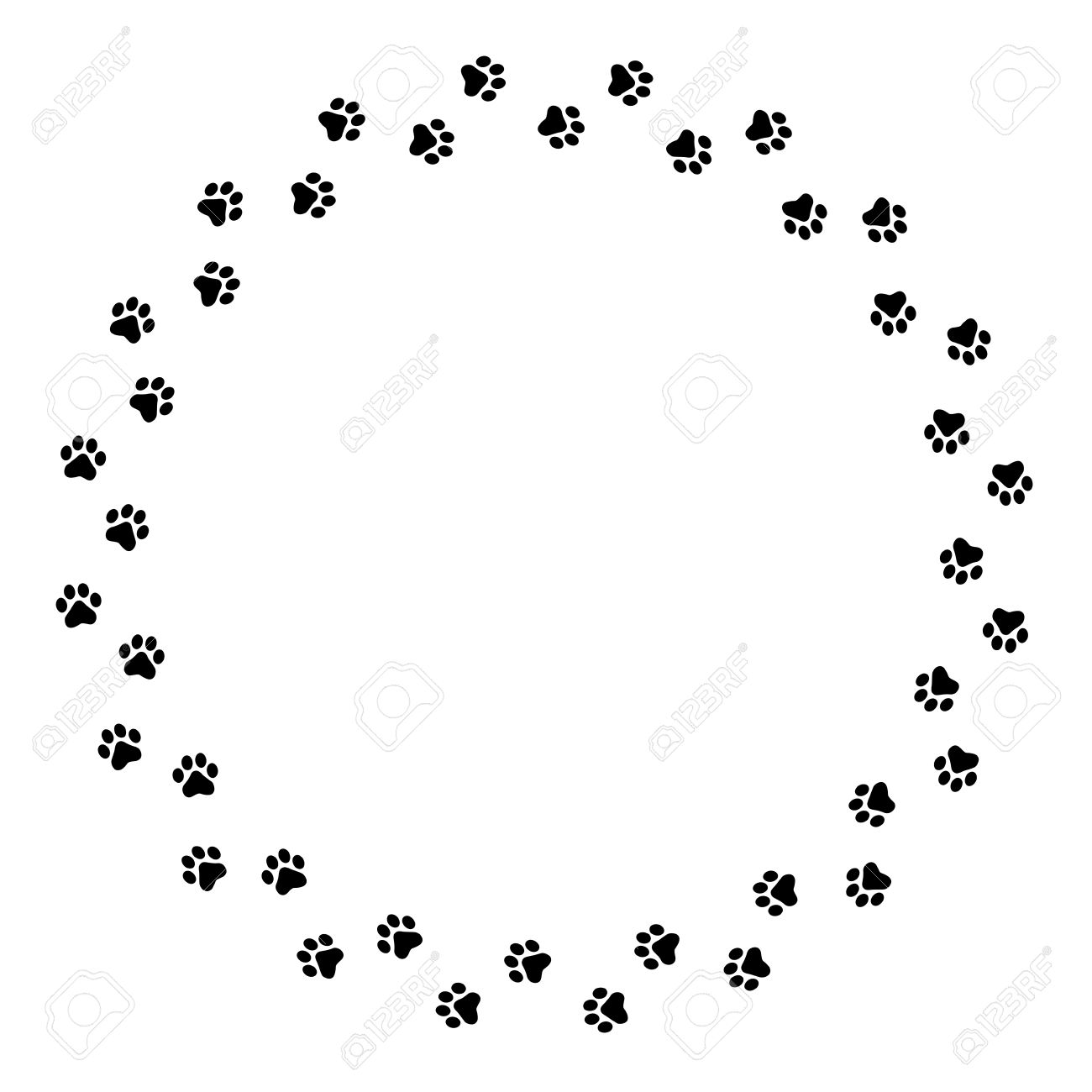 Black Dog Paw Prints Circlel Frame Border Royalty Free Cliparts