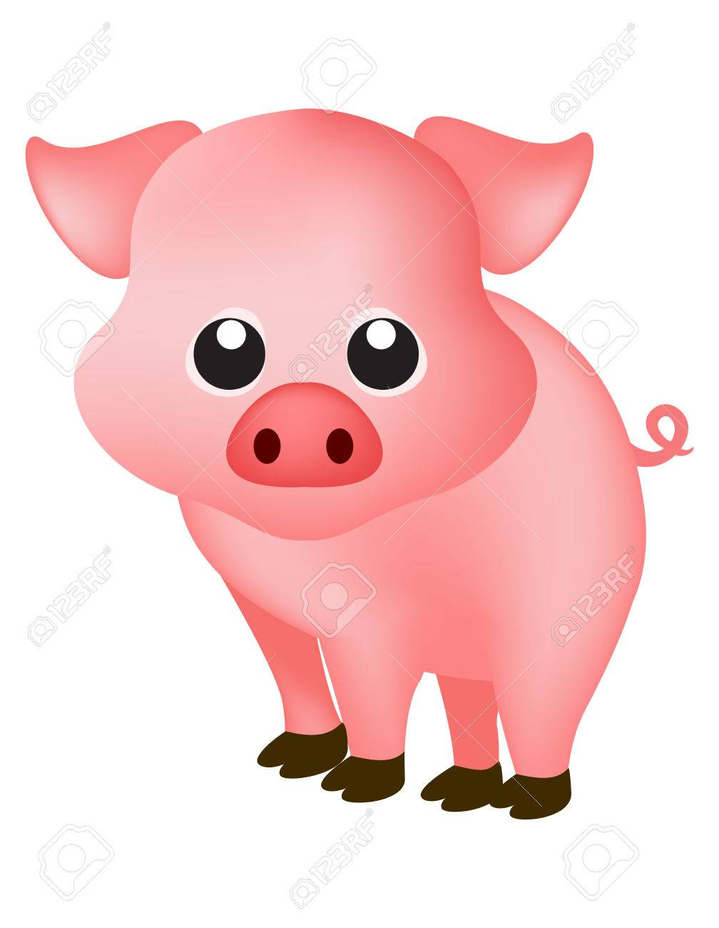 Cute Pink Pig Isolated On White Background Clipart Royalty Free Cliparts Vectors And Stock Illustration Image 38908469