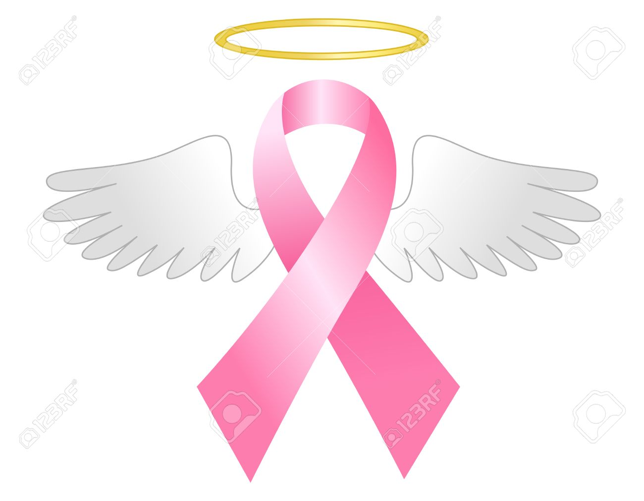 Breast Cancer Awareness Pink Ribbon With Wings And Golden Halo