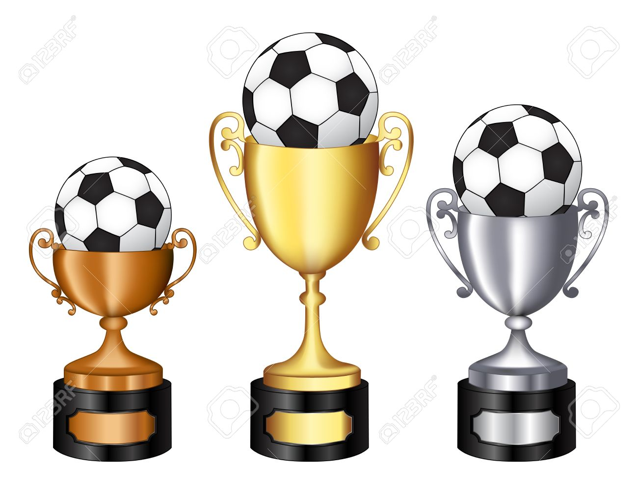 Gold Silver And Bronze Champion Trophy With Soccer Ball On It For 1st 2nd