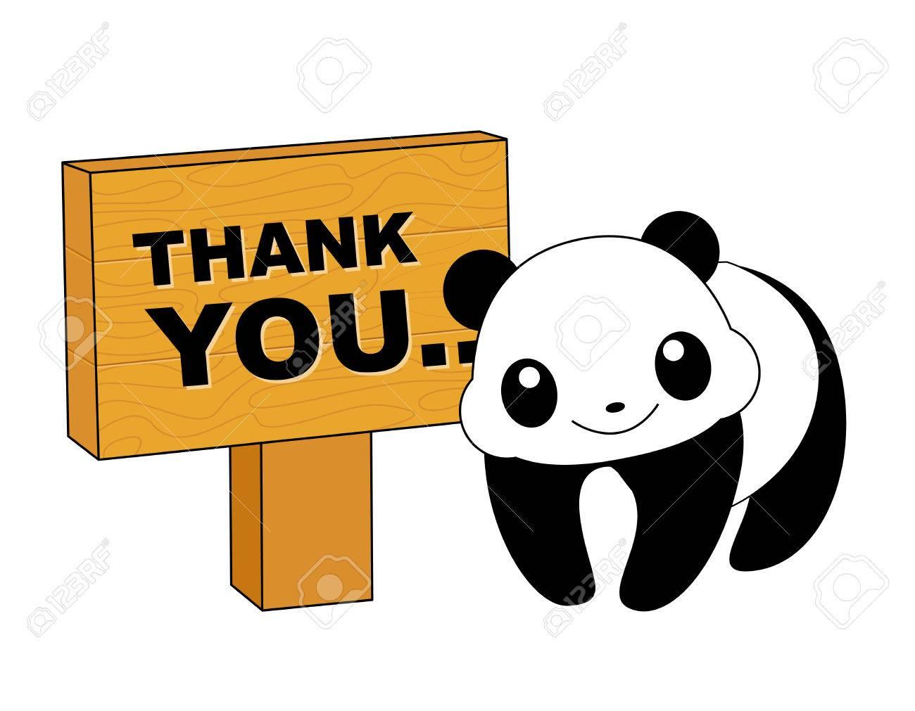 ありがとうカード掲示板とかわいいパンダ ロイヤリティフリークリップ