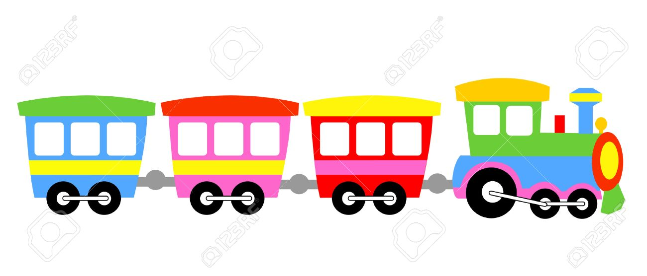Cute Colorful Kids Toy Train Isolated On White Background ...