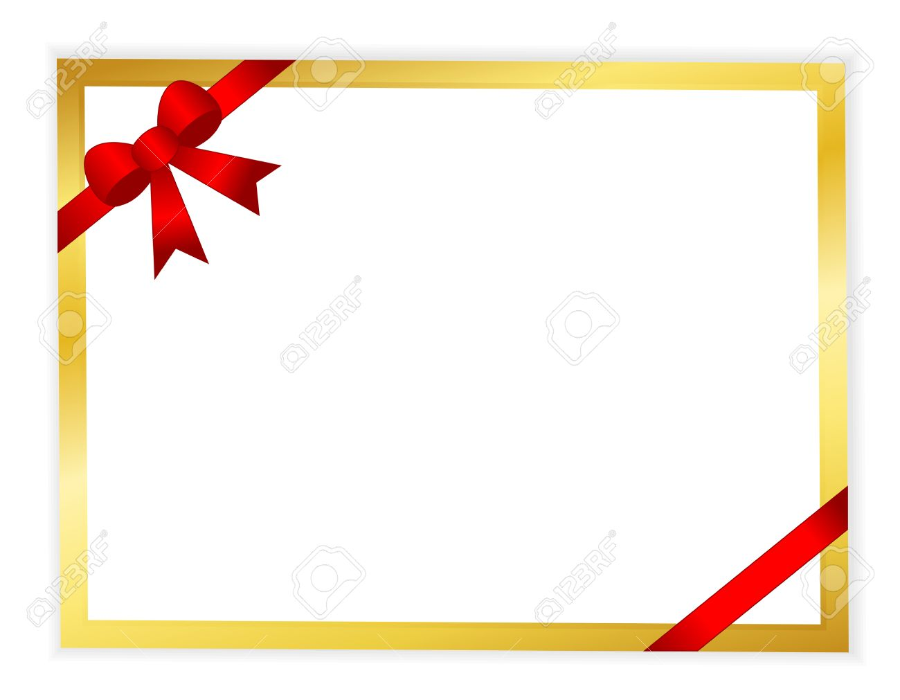 Red Ribbon Bow With White Paper Background With Golden Frame