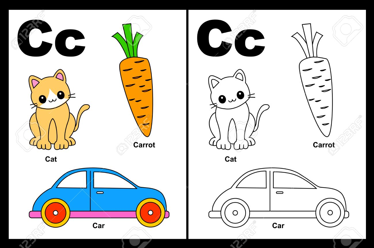 kids alphabet coloring book page with outlined clip arts to color letter c stock vector - Alphabet Coloring Book