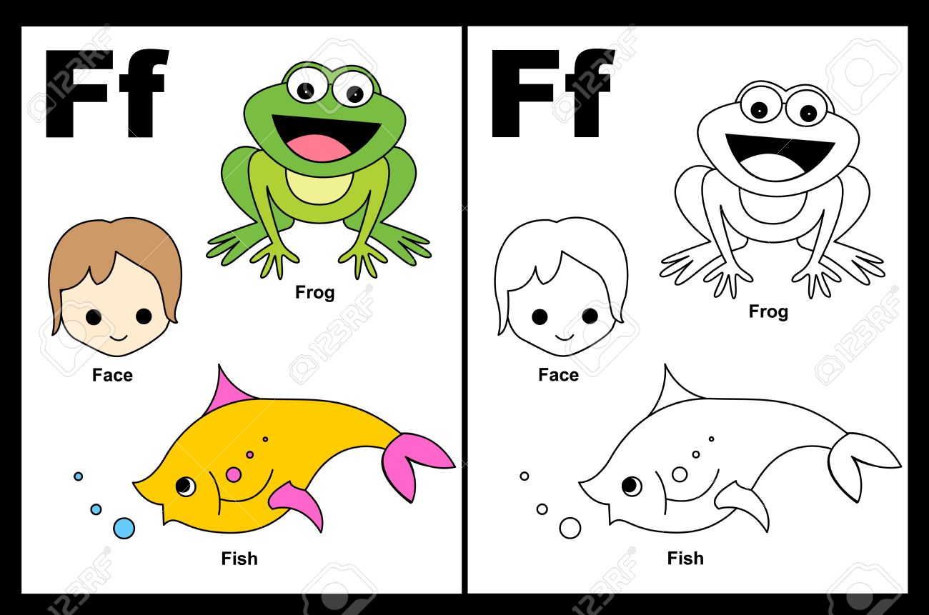 - Kids Alphabet Coloring Book Page With Outlined Clip Arts To Color