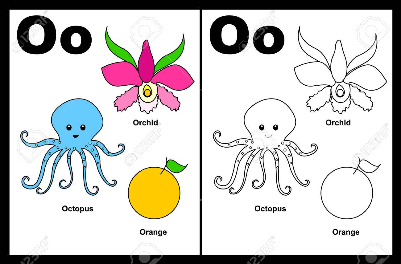 Alphabet o coloring pages - Kids Alphabet Coloring Book Page With Outlined Clip Arts To Color Letter O Stock Vector