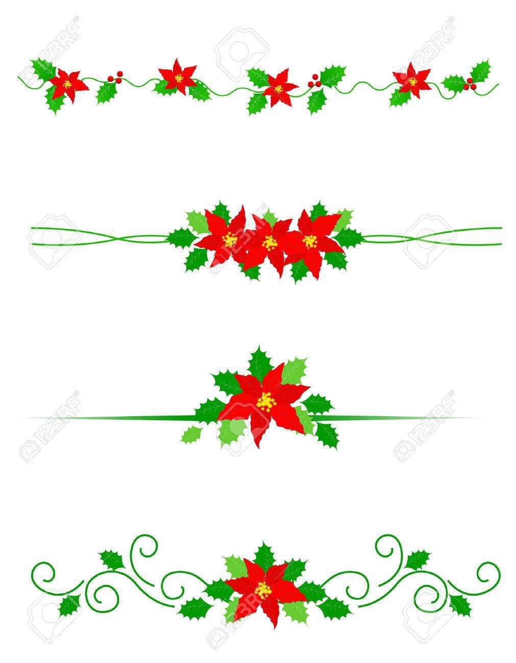 Colección De Divisores De Navidad De Colores Con Flores De ...
