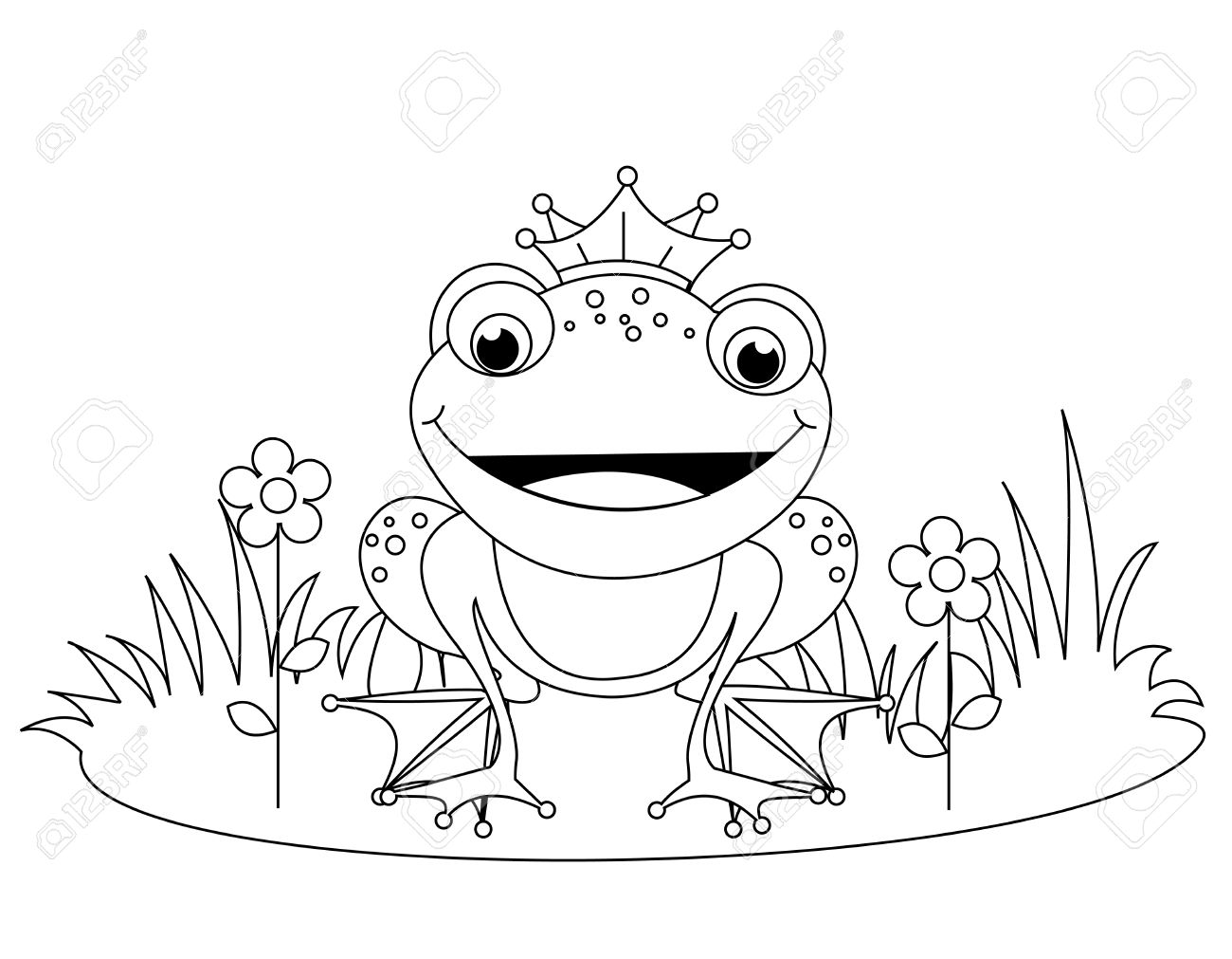 cute frog prince coloring book page for kindergarten kids royalty
