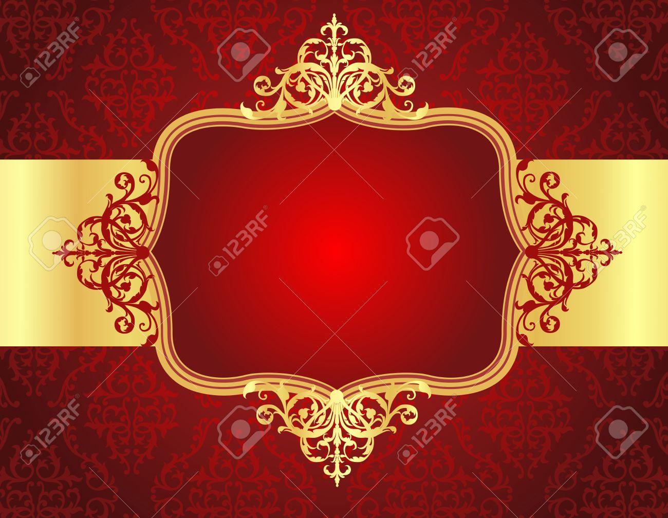 Elegant Golden / Gold Ornamental / Retro Frame On Red Seamless ...
