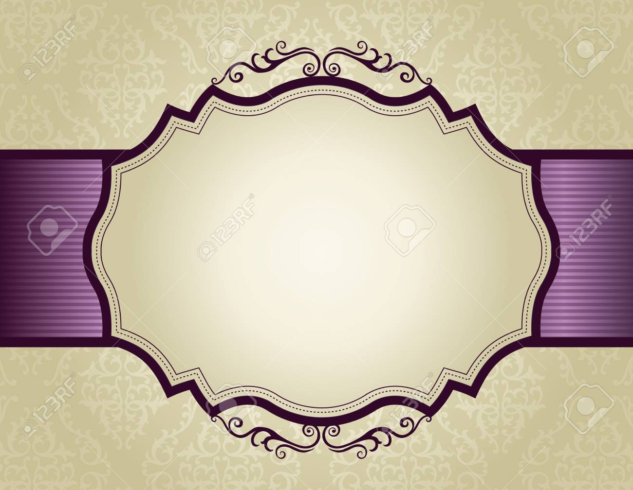 Elegant Gold And Purple Damask Pattern Background With Ribbon ...