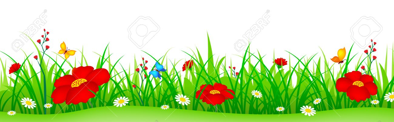 green grass with cute colorful spring flowers illustration isolated rh 123rf com Spring Flower Border Clip Art Wavy Flowers Clip Art