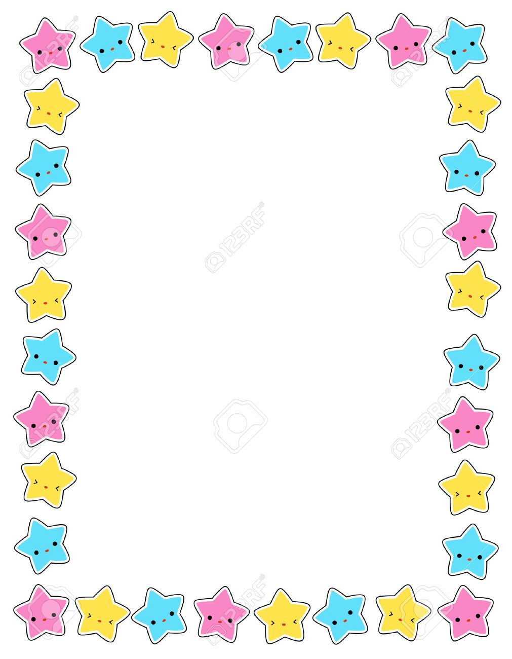 Cute Colorful Stars Border / Frame For Greeting Cards, Party ...