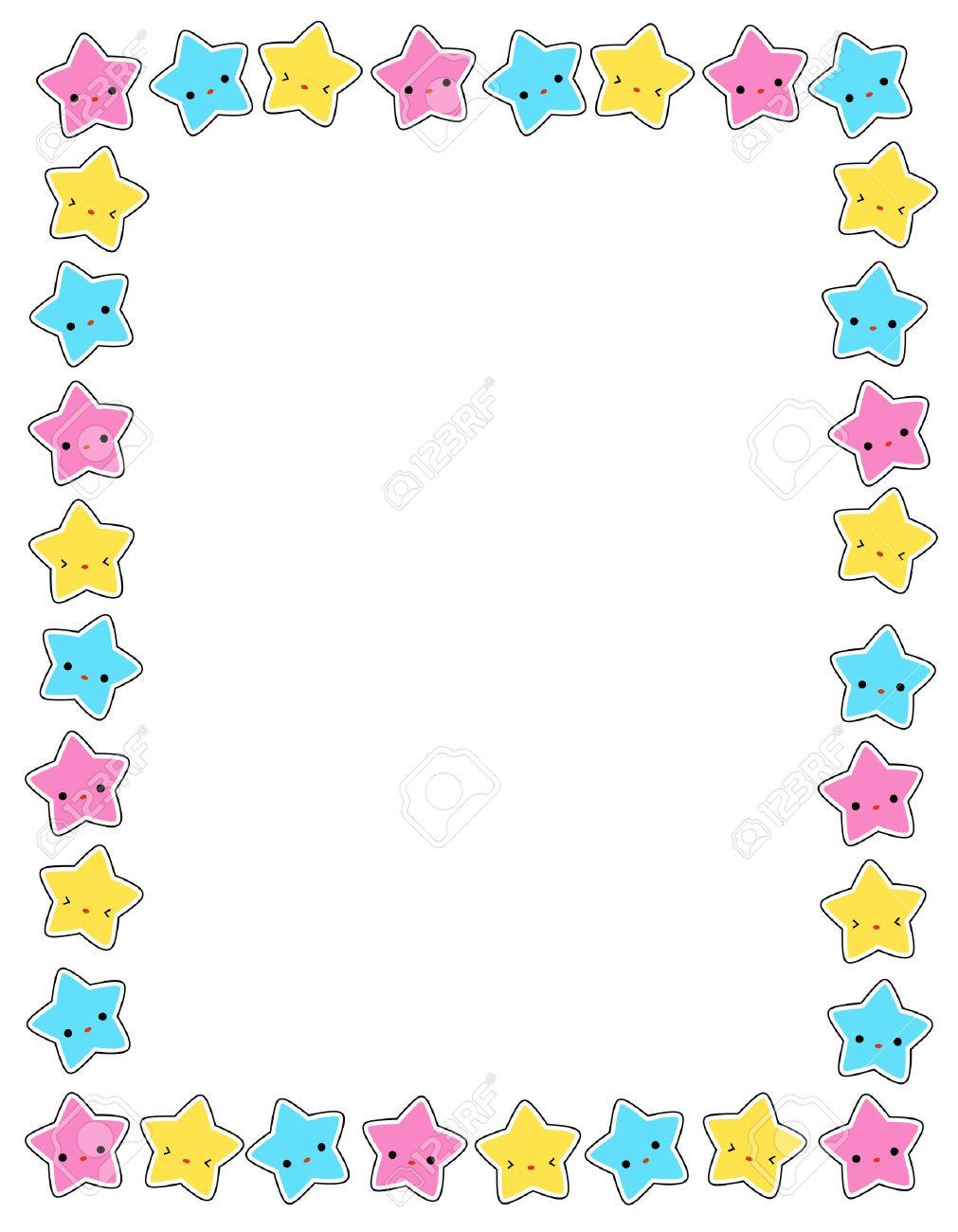 Lindo Estrellas De Colores Frontera / Marco Para Las Tarjetas De ...