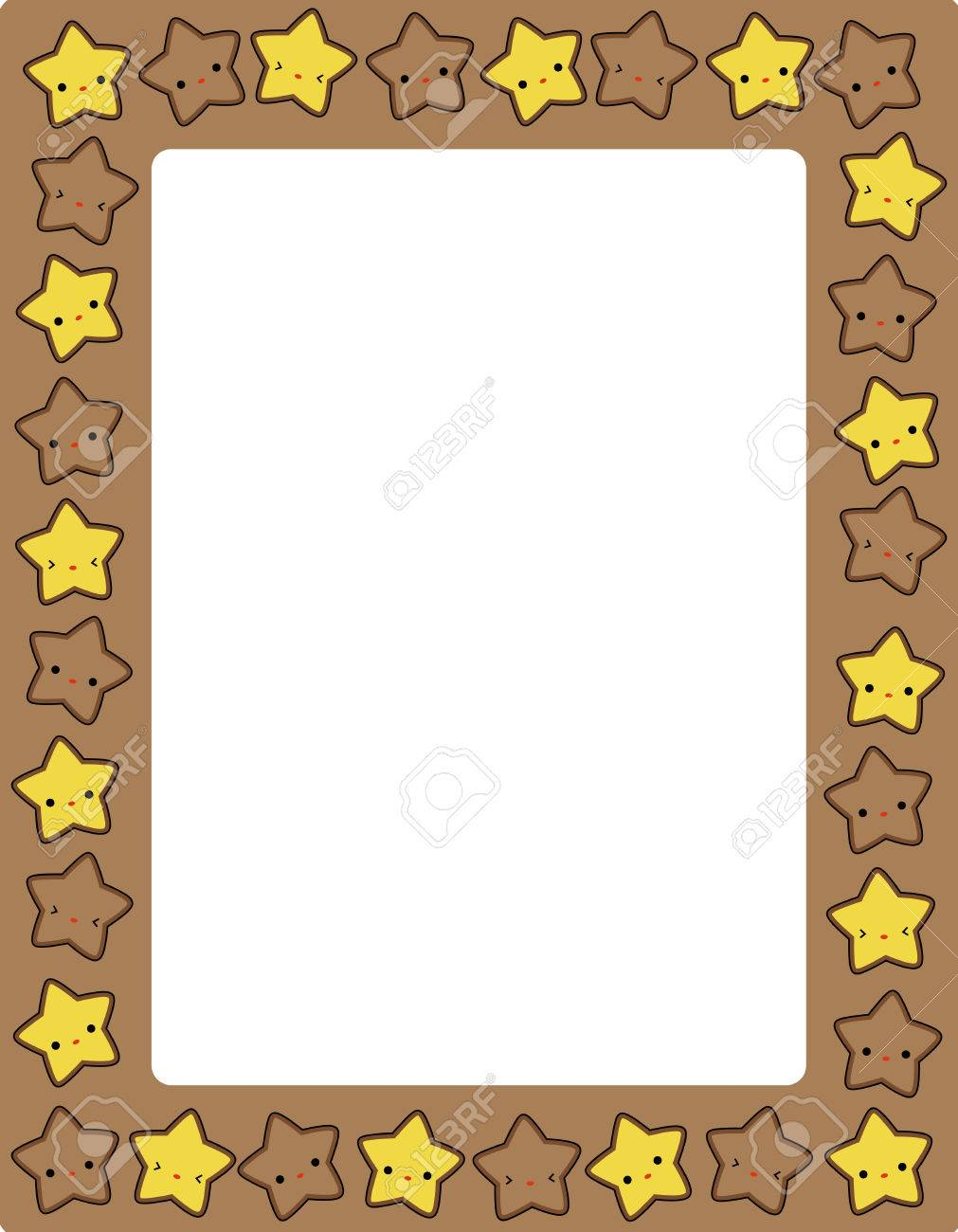cute colorful stars border frame for greeting cards party