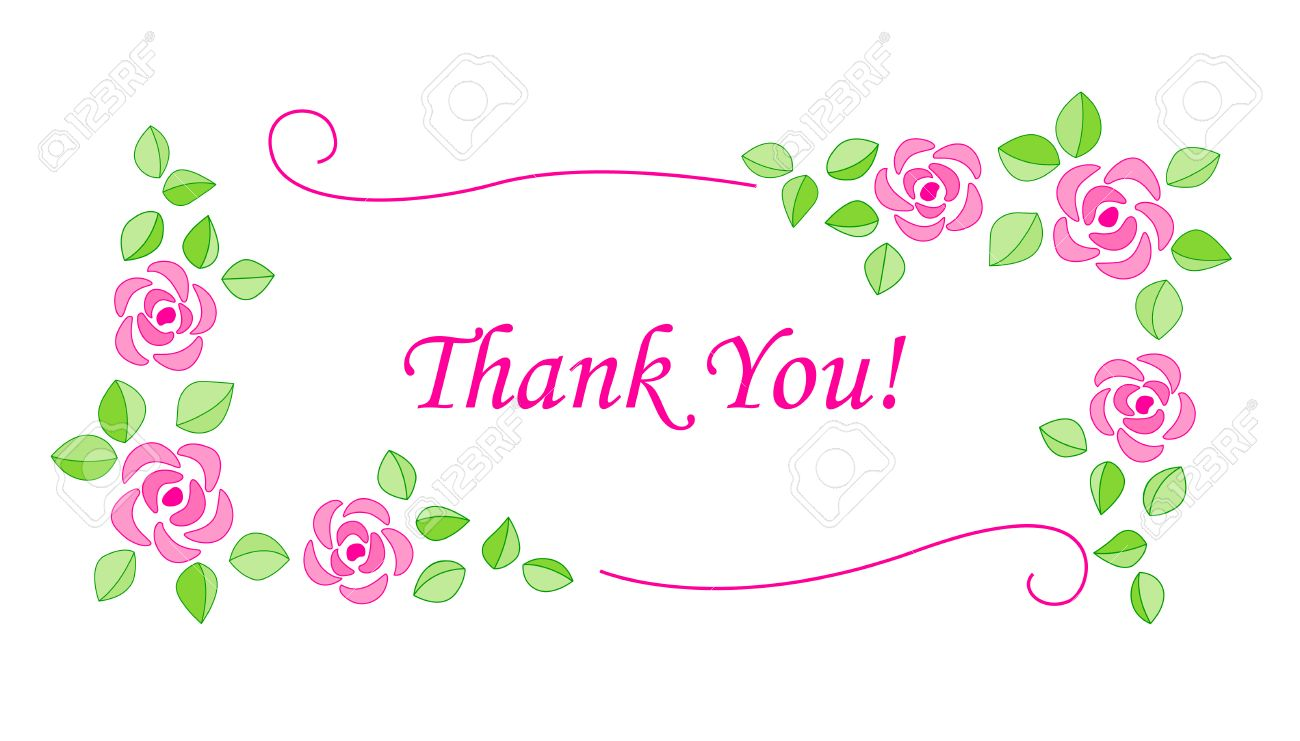 Beautiful Thank You Cards beautiful decorative thank you card with pink roses isolated