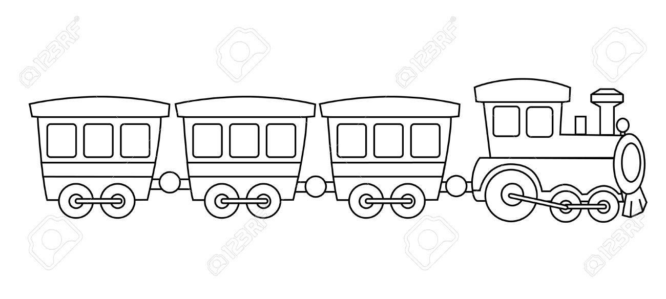 Kids Toy Train Coloring Book Graphic Isolated On White Background ...