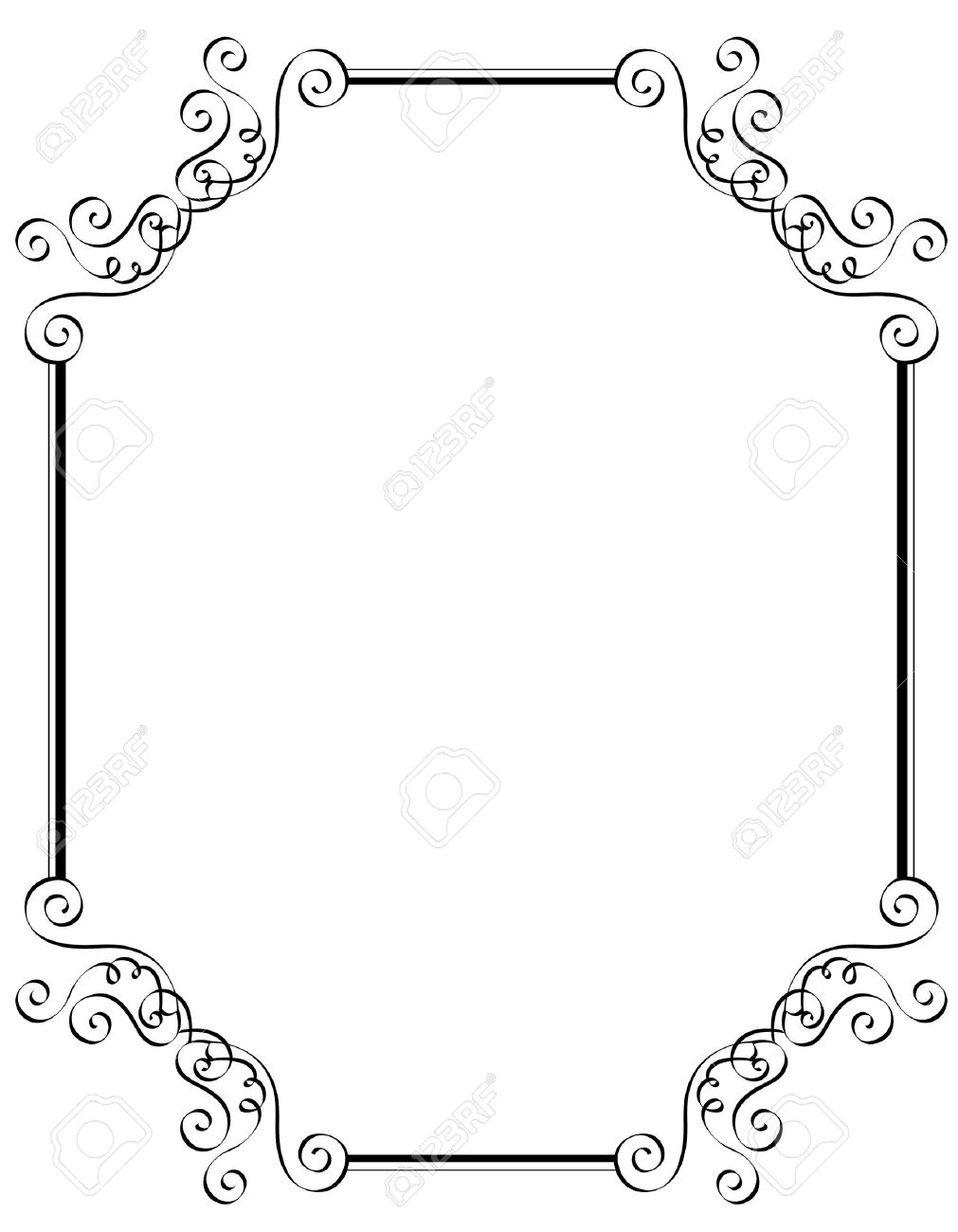 Black And White Ornamental Border Frame Specially For Wedding – Black and White Invitation Cards