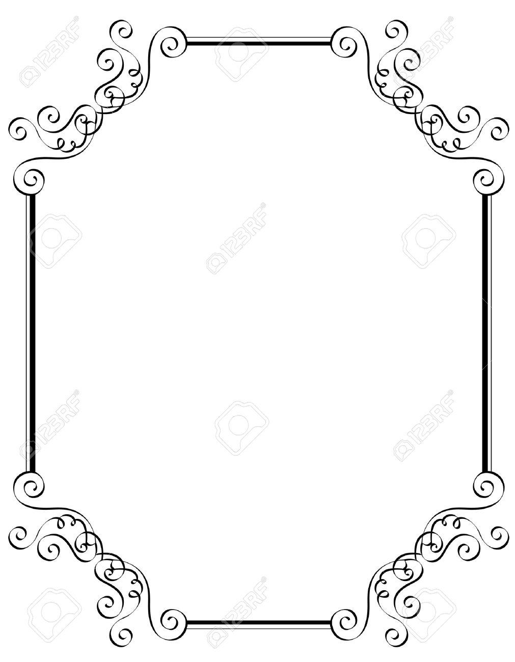 Schwarze Und Weisse Dekorative Grenze Rahmen Speziell Fur Hochzeit