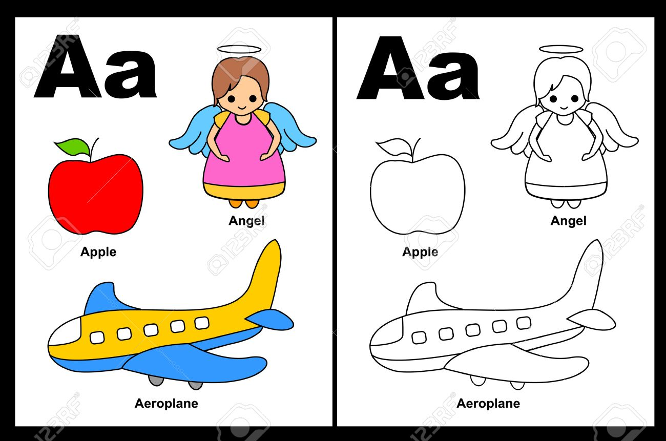 Kids alphabet coloring book page with outlined clip arts to color...