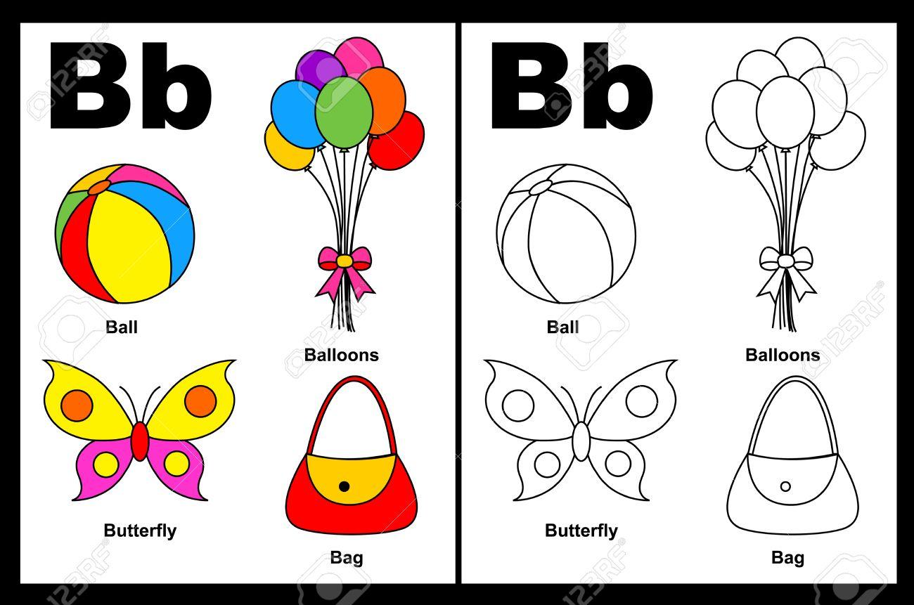 Niños Alfabeto Página Del Libro Para Colorear Con Esbozados Clip Arts Para Colorear Letra B