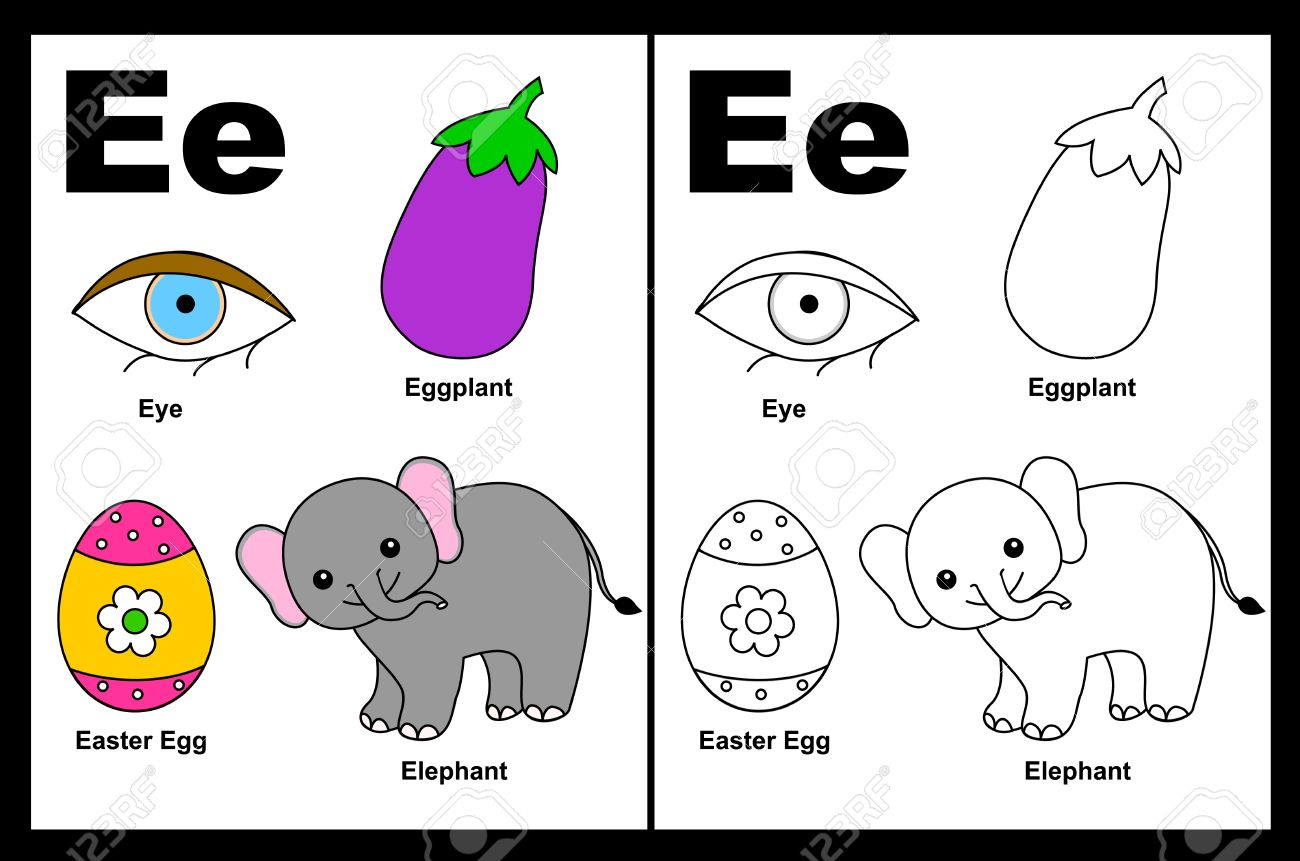 kids alphabet coloring book page with outlined clip arts to color letter e stock vector - Kids Color Book