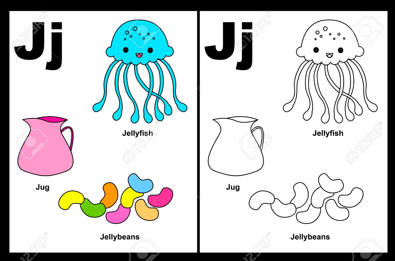 kids alphabet coloring book page with outlined clip arts to color letter j stock vector - Alphabet Coloring Book