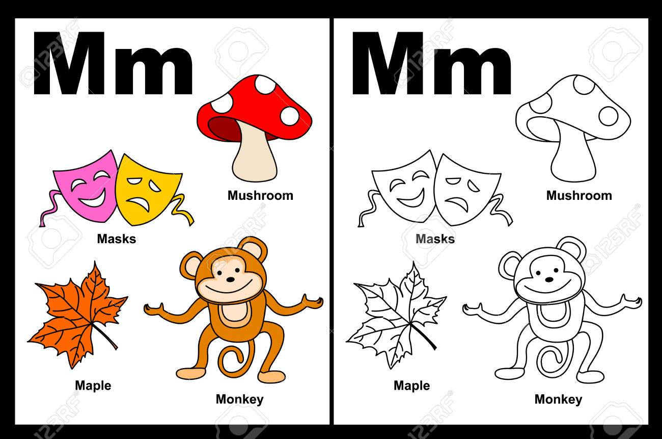 Coloring book pages letter m - Kids Alphabet Coloring Book Page With Outlined Clip Arts To Color Letter M Stock Vector