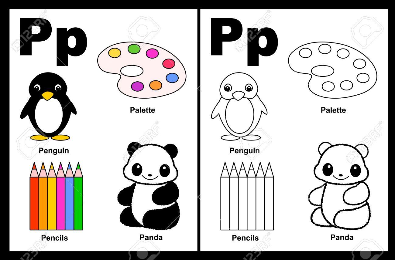 Niños Alfabeto Página Del Libro Para Colorear Con Esbozados Clip ...