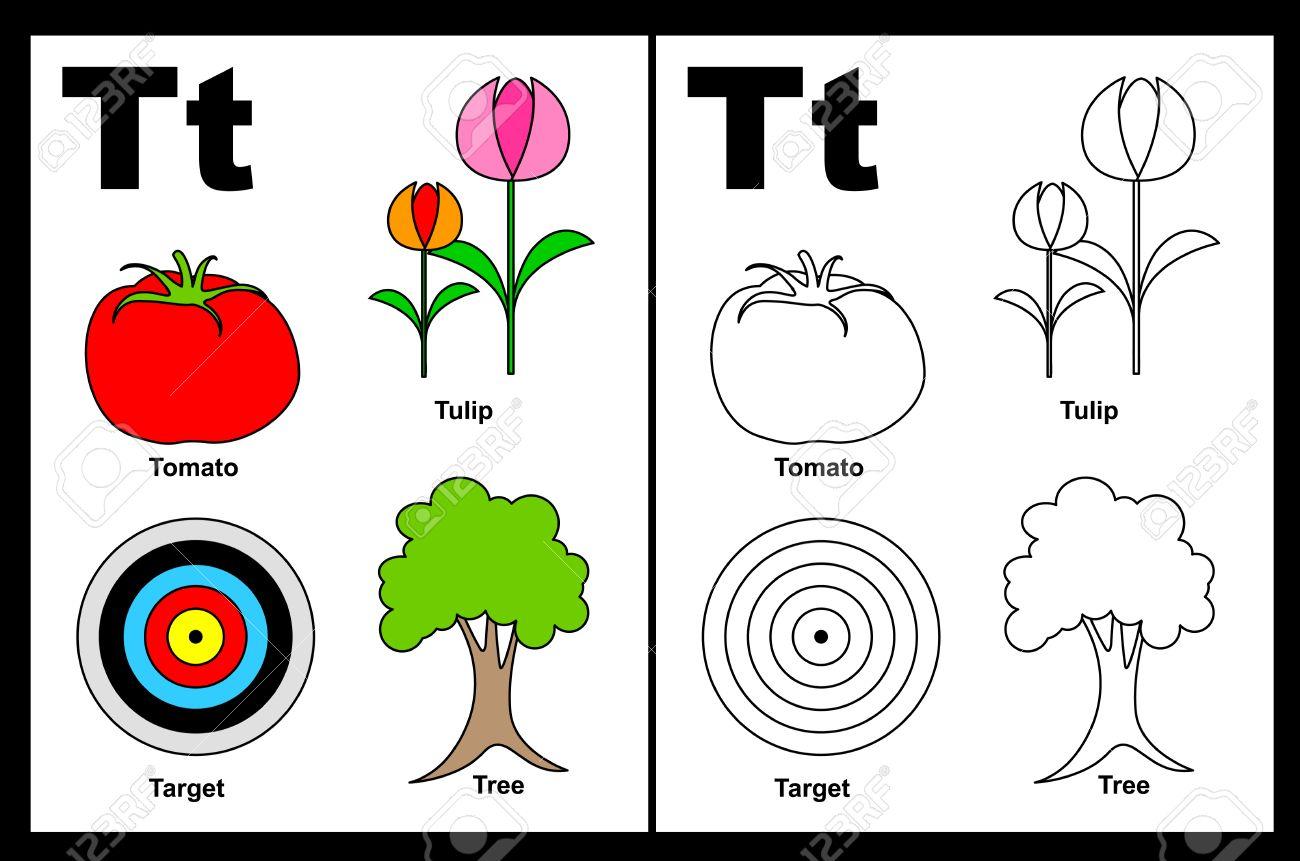 Niños Alfabeto Página Del Libro Para Colorear Con Esbozados Clip Arts Para Colorear Letra T