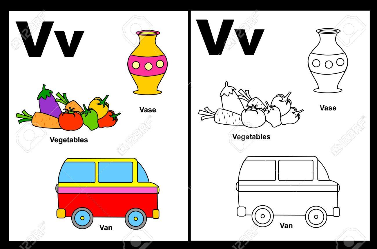 Niños Alfabeto Página Del Libro Para Colorear Con Esbozados Clip Arts Para Colorear Letra V