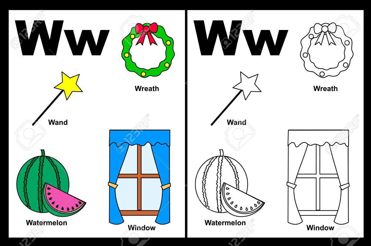 Niños Alfabeto Página Del Libro Para Colorear Con Esbozados Clip Arts Para Colorear Letra W