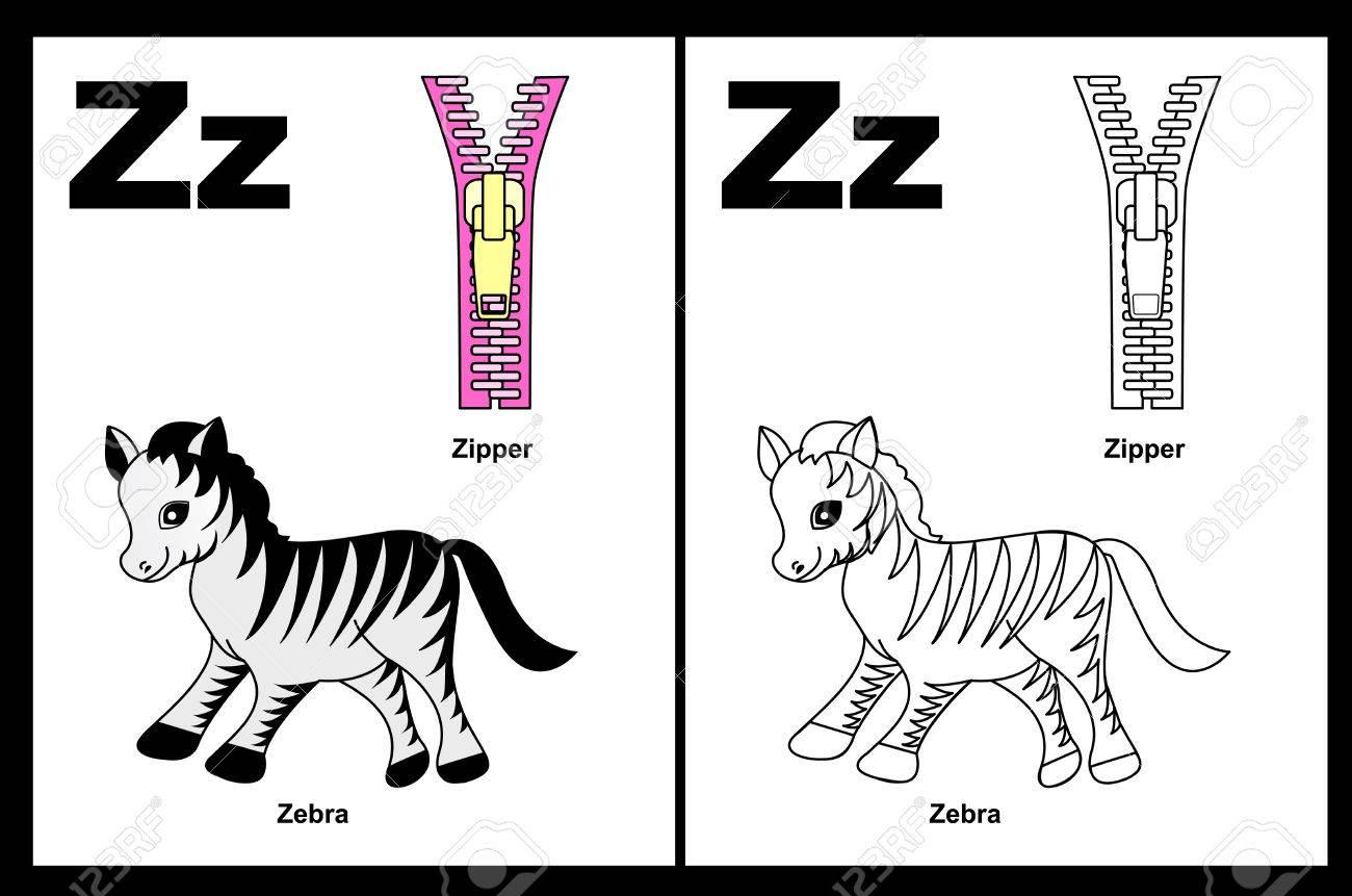Niños Alfabeto Página Del Libro Para Colorear Con Esbozados Clip Arts Para Colorear Letra Z