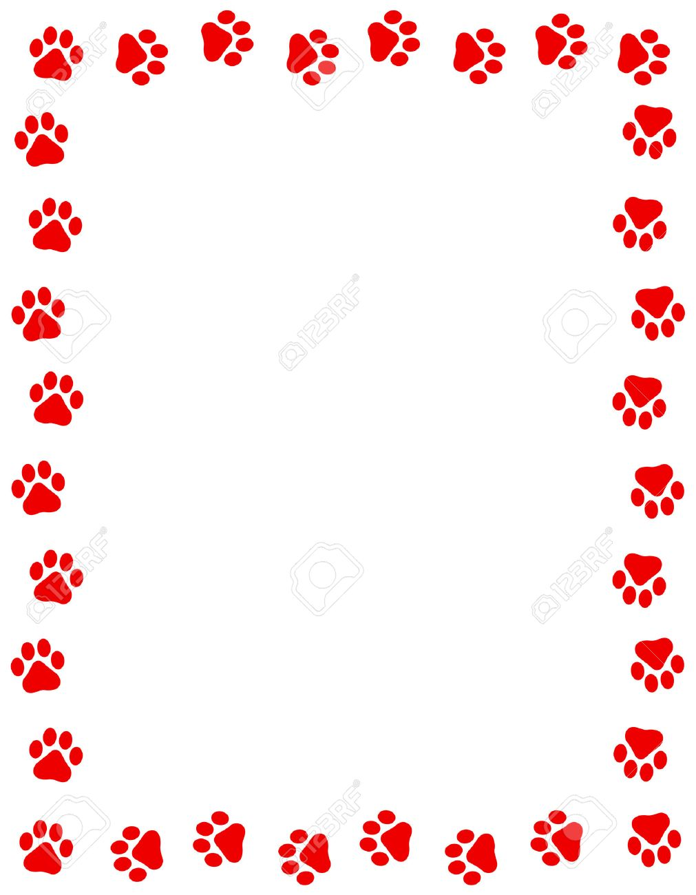 Red Color Dog Paw Prints Frame Border N White Background Stock