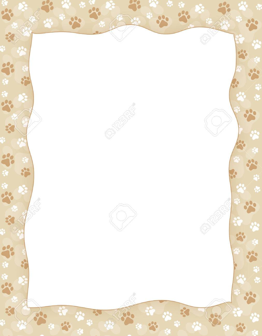Brown Y Impresión De La Pata Blanco Patrón Transparente Frontera ...