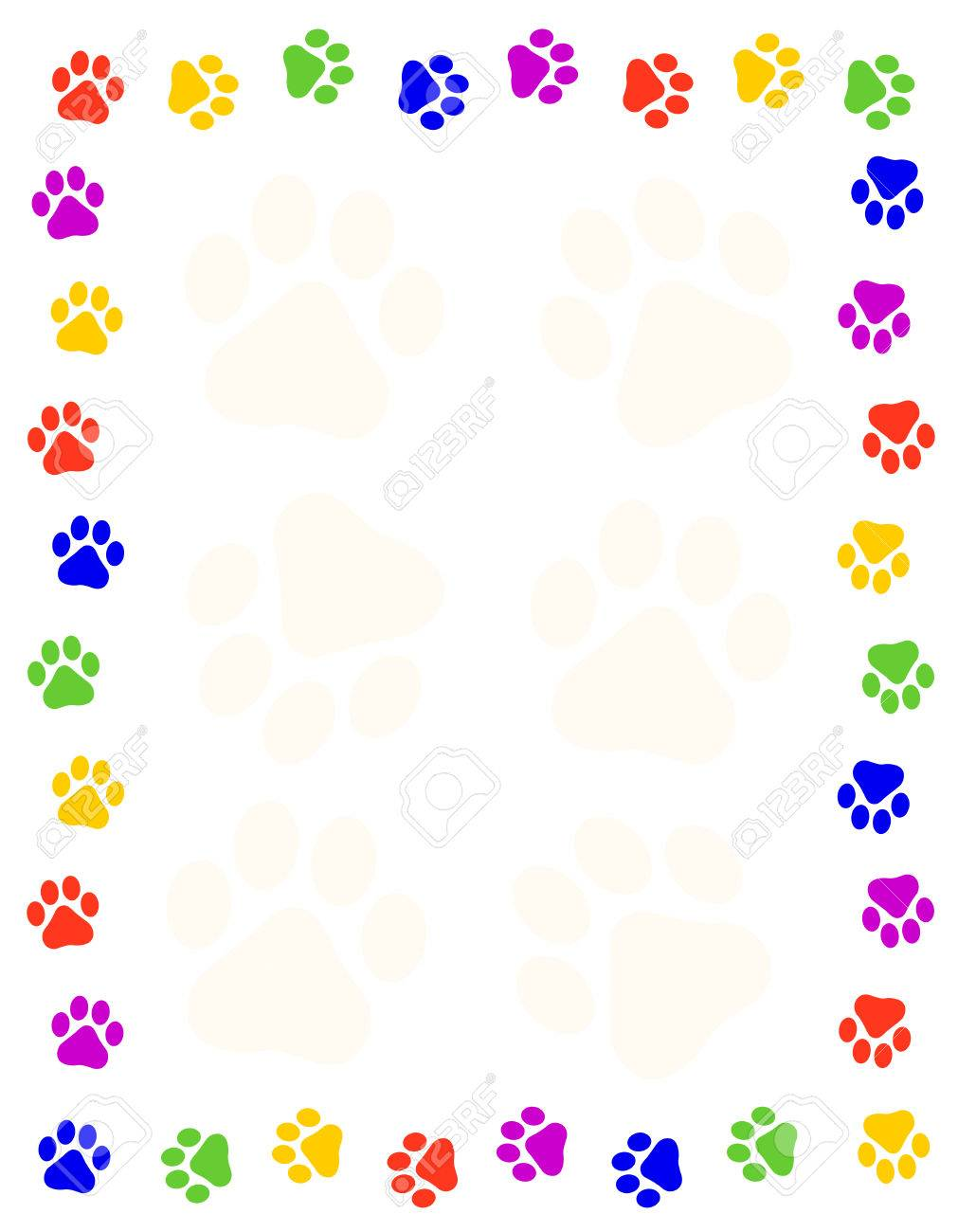 Colorful Paw Prints Frame / Border Stock Photo, Picture And Royalty ...