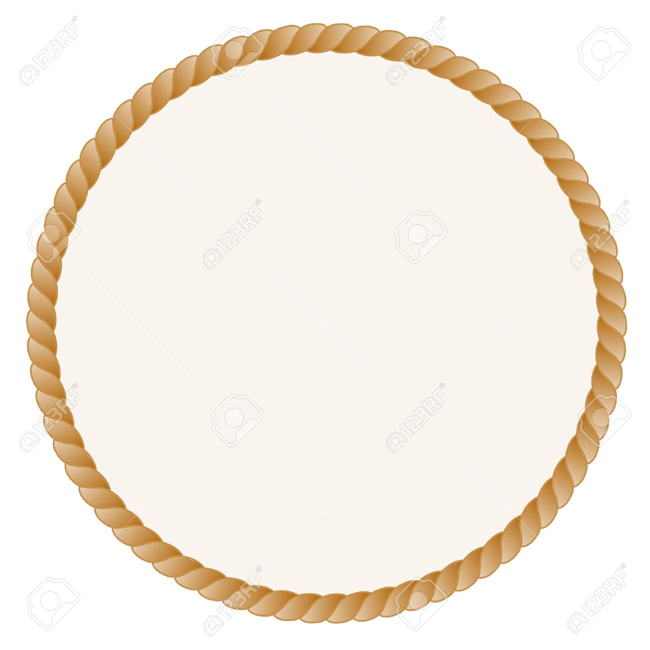 rope frame circle shaped rope frame border isolated on white background