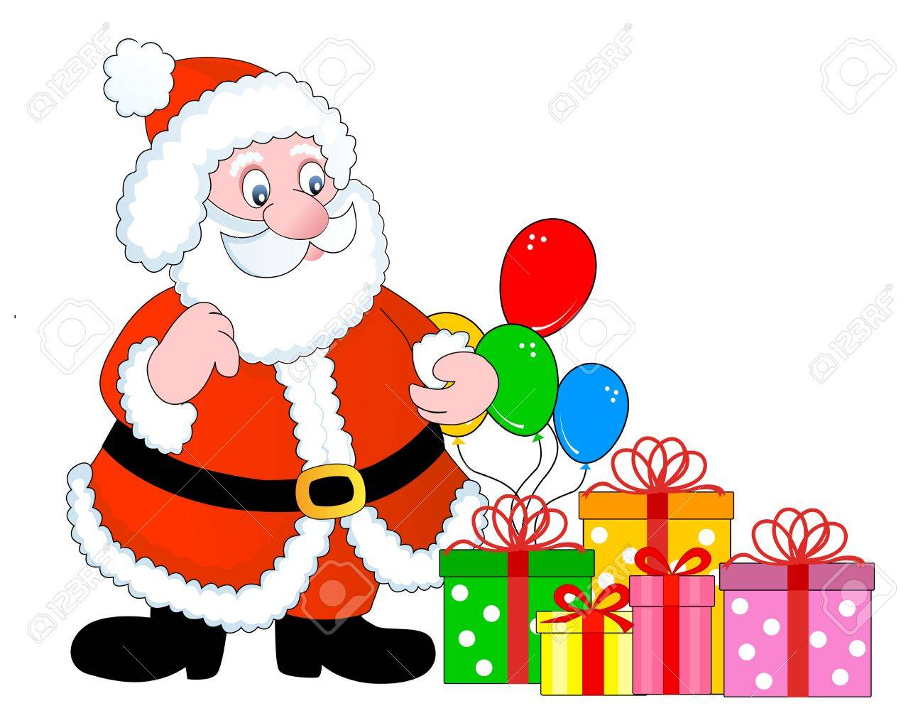 Santa Claus With Colorful Gift Boxes And Balloons Clipart Isolated
