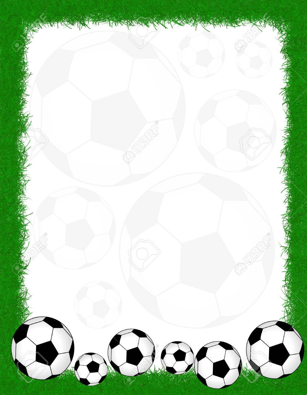 Soccer Balls On Beautiful Green Grass Frame. Stock Photo, Picture ...