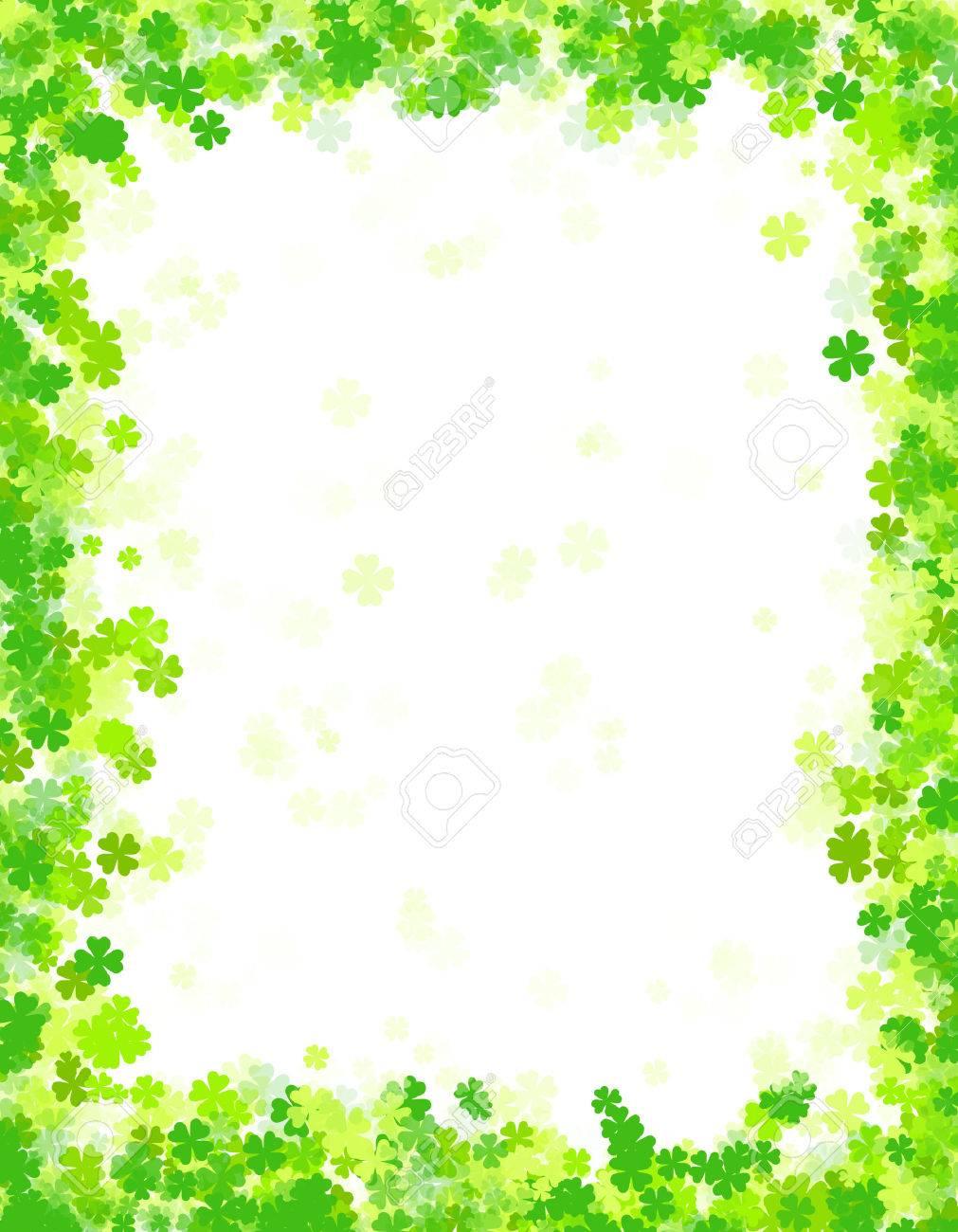 Trébol Verde St. Patricks Día Frontera / Marco Con El Espacio Blanco ...