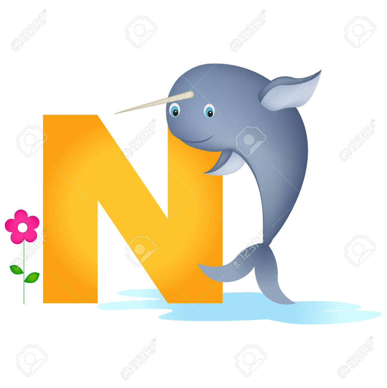 Colorful Animal Alphabet Letter N With A Cute Narwhal Flash Card