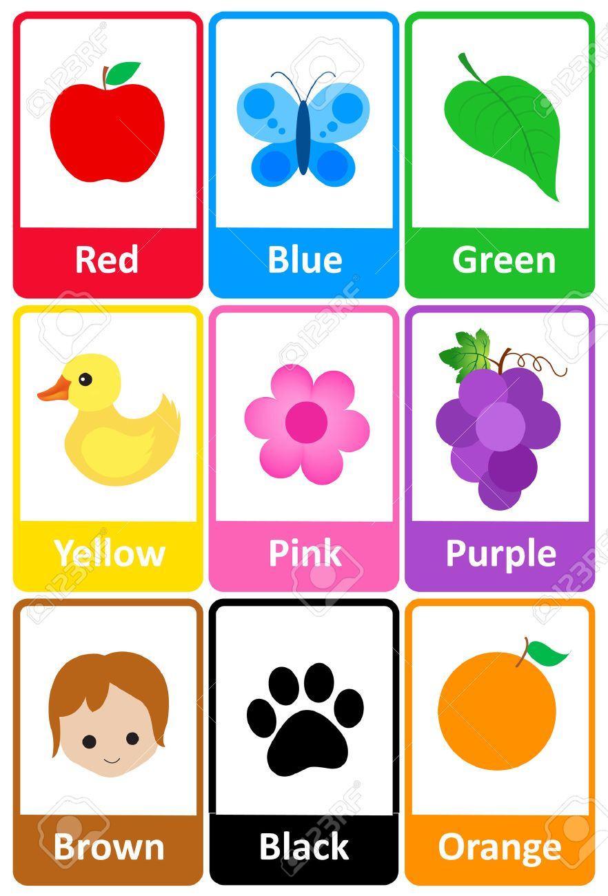 picture relating to Printable Colors called Printable flash card variety for hues and their names with..