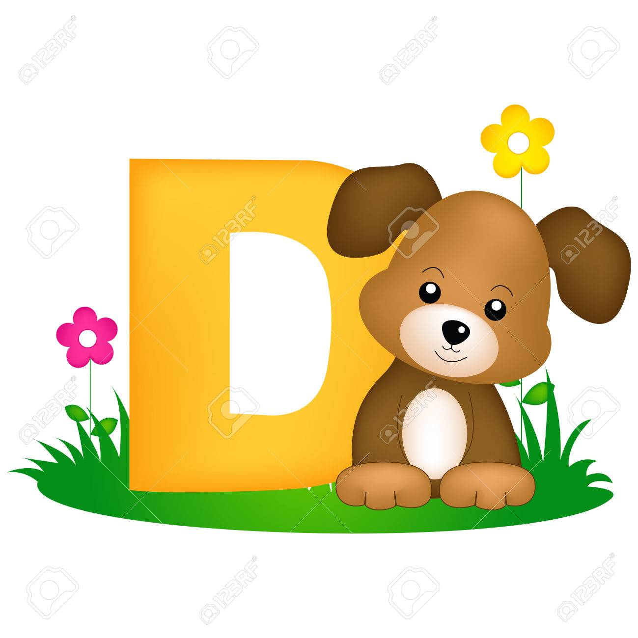 colorful animal alphabet letter d with a cute dog flash card