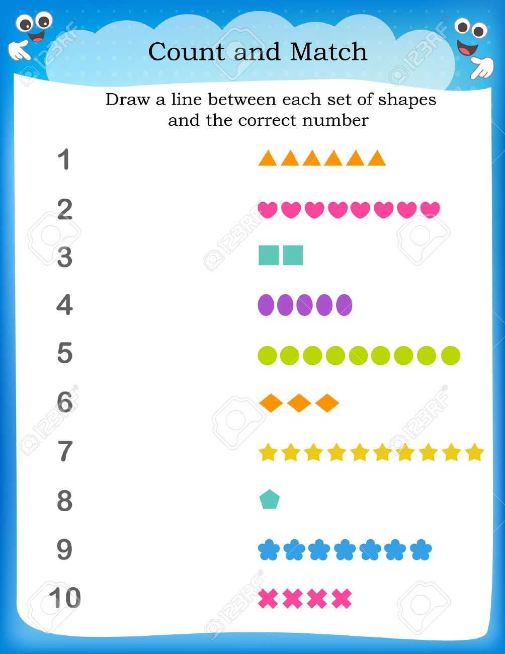 Kids Worksheet With Counting Exercises, Count And Match Equal ...