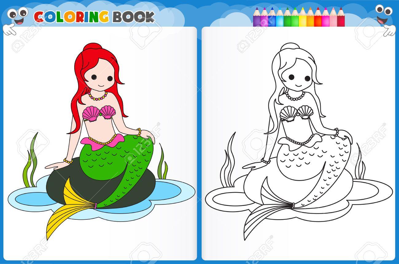 coloring page mermaid with colorful sample printable worksheet