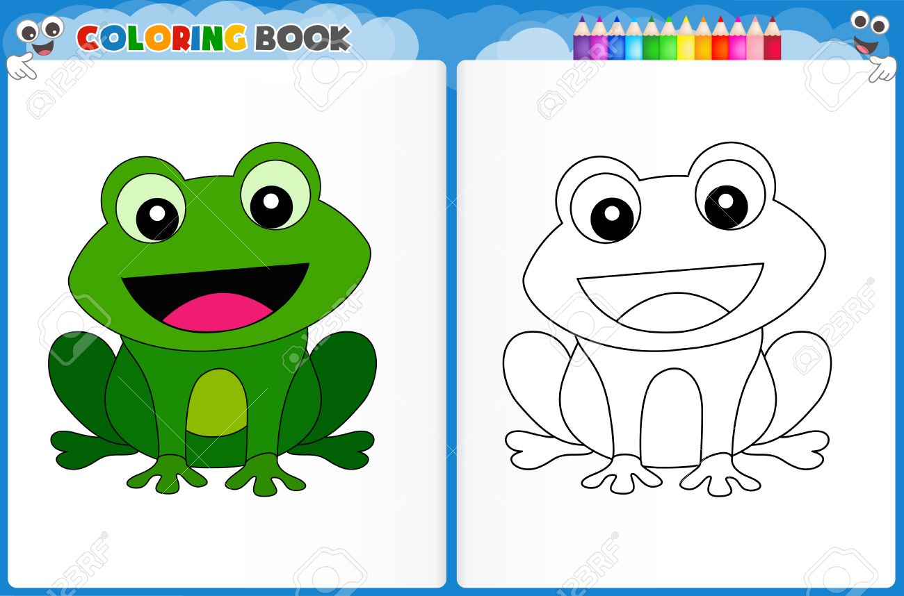 Coloring Page Cute Frog With Colorful Sample Printable Worksheet ...